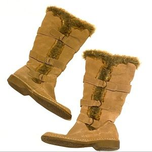 Sonoma Tall Leather Faux Fur Buckle Zip Boots 9.5